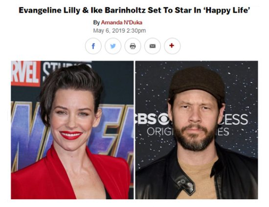 "Evangeline Lilly & Ike Barinholtz set to star in ""Happy Life"""